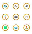 virtual reality game icons set cartoon style vector image vector image