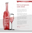 wine glass and bottle red watercolor sketched vector image vector image
