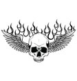 winged skull grim reaper drawing in a vintage vector image vector image