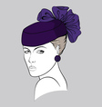 Woman with small purple hat vector image vector image
