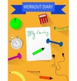 Workout and fitness dieting copy space diary vector image vector image