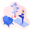 yoga girl in a tree pose exercise at home vector image