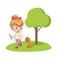 young girl walking park with adorable dog vector image vector image