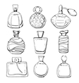 Set of linear hand drawn perfume bottles vector image