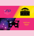 virtual reality banner headset icon flat design vector image