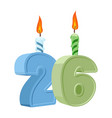 26 years birthday number with festive candle for vector image vector image