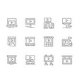 advertising campaign black line icons set vector image