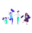 back to school set with kids holding studying vector image vector image