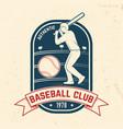 baseball or softball club badge vector image vector image