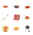 bbq party icons set cartoon style vector image vector image