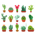 big set cute cartoon cactus and succulents vector image