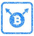 bitcoin fork framed stamp vector image vector image