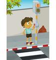 Boy crossing road vector image vector image