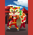 boy doing a lion dance vector image vector image