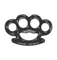 brass knuckles engraving vector image