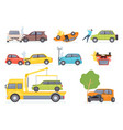 cars accident insurance transportation on tow vector image