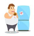 Cartoon Fat Man eating Burger near the vector image