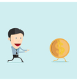 cartoon run with dollar coin in flat desi vector image