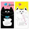 cat calendar 2017 cute funny cartoon character vector image vector image