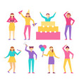 characters from birthday party in cone hats set vector image vector image