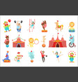circus related objects and characters set cute vector image
