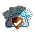 cloud shield documents security vector image vector image