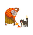 cute granny feeding her black cat lonely old lady vector image vector image
