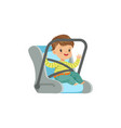 cute little boy sitting in car seat safety car vector image vector image