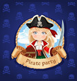 cute little girl pirate with treasure chest vector image vector image