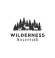 deer and pine cedar conifer wilderness adventure vector image vector image