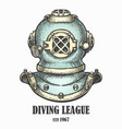 diving helmet drawn in vintage style vector image vector image