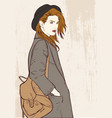 fashion girl with hat vector image vector image