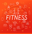 fitness concept different thin line icons included vector image