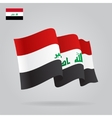 Flat and waving Iraqi Flag vector image vector image