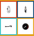 flat icon component set of tachometr cambelt vector image vector image