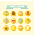 Flat icons set of tasty popsicles vector image