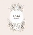 floral design frame linear roses vector image vector image