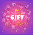 gift concept different thin line icons included vector image vector image