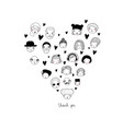 graphic heart with faces avatars of people vector image