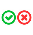 green checkmark ok and red cross x icons vector image