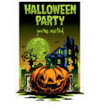 halloween card design pumpkin and haunted house vector image vector image