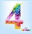 happy birthday postcard four years vector image vector image