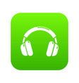 headphones icon green vector image