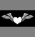 heart with wings for tattoo design or emblem vector image vector image