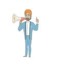 hindu businessman talking into loudspeaker vector image vector image