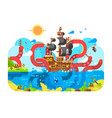 kraken sea monster and sinks ship design flat vector image vector image