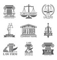 law and legal labels legal code judge hammer and vector image