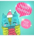 Merry Christmas greeting background with an owl vector image vector image