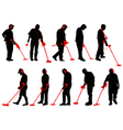Metal detecting silhouettes vector image vector image