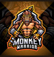 monkey warrior esport mascot logo design vector image vector image